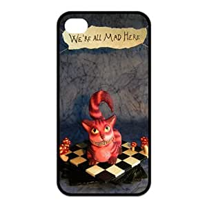 Alice in Wonderland We're all mad here Cheshire Cat Unique Apple Iphone 4 4S Durable Hard Plastic Case Cover Personalized Treasure DIY