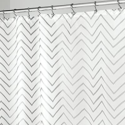 """mDesign Long Decorative Metallic Pattern, Water Repellent, Fabric Shower Curtain for Bathroom Showers and Stalls, Machine Washable - Chevron Zig-Zag Print, 72"""" x 84"""" - White/Silver - WATER RESISTANT: The tight weave of the fabric and superior quality of the polyester yarns provide this curtain with a firm, smooth texture, which promotes water bead formation and prevents the curtain from becoming soaked and from creating a mess on your bathroom floor; Drapes beautifully for a clean fresh look in your bathroom REINFORCED BUTTON HOLES: Reinforced button holes work with most types of shower hooks and rings for quick and simple installation; Top hem is reinforced to hold up to long-term use; This shower curtain will complement any bathroom - use at home, apartment, condo, hotel, camper, RV, dorm, school shower, athletic club, gym and everywhere else you need a reliable shower curtain or liner SIMPLE INSTALLATION: Each curtain contains 12 reinforced buttonholes that fit most standard shower hooks (not included); Machine washable to keep mold and mildew away; The long length is perfect for higher ceilings and keeps water in the shower or tub and not on your floor; mDESIGN TIP: Check your space to ensure that you have the curtain of the appropriate length, this is much longer than a standard shower curtain which is typically no more than 72 inches long - shower-curtains, bathroom-linens, bathroom - 517z8M RG9L. SS400  -"""