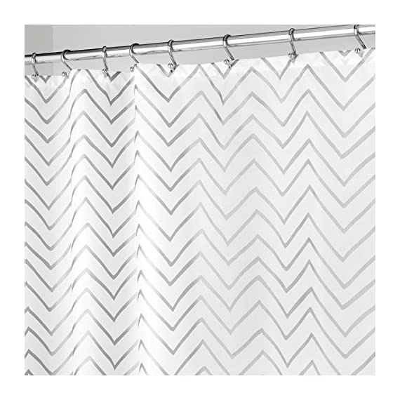 """mDesign Long Decorative Metallic Pattern, Water Repellent, Fabric Shower Curtain for Bathroom Showers and Stalls, Machine Washable - Chevron Zig-Zag Print, 72"""" x 84"""" - White/Silver - WATER RESISTANT: The tight weave of the fabric and superior quality of the polyester yarns provide this curtain with a firm, smooth texture, which promotes water bead formation and prevents the curtain from becoming soaked and from creating a mess on your bathroom floor; Drapes beautifully for a clean fresh look in your bathroom REINFORCED BUTTON HOLES: Reinforced button holes work with most types of shower hooks and rings for quick and simple installation; Top hem is reinforced to hold up to long-term use; This shower curtain will complement any bathroom - use at home, apartment, condo, hotel, camper, RV, dorm, school shower, athletic club, gym and everywhere else you need a reliable shower curtain or liner SIMPLE INSTALLATION: Each curtain contains 12 reinforced buttonholes that fit most standard shower hooks (not included); Machine washable to keep mold and mildew away; The long length is perfect for higher ceilings and keeps water in the shower or tub and not on your floor; mDESIGN TIP: Check your space to ensure that you have the curtain of the appropriate length, this is much longer than a standard shower curtain which is typically no more than 72 inches long - shower-curtains, bathroom-linens, bathroom - 517z8M RG9L. SS570  -"""