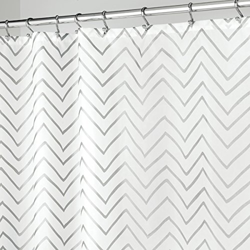 mDesign Long Decorative Metallic Chevron Print Water Repellent, Fabric Shower Curtain for Bathroom Showers and Stalls, Machine Washable - 72