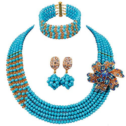 aczuv African Wedding Jewelry Set Nigerian Beads Necklace Bridal Jewelry Sets (Aqua Blue Champagne Gold)