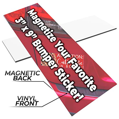 Decorate An Office (Fun, Make-Your-Own 3x9in Magnetic Sheets 5pk. Blank White Magnet Strips for Strong, Flexible Bumper Sticker Decals, Holiday Photos or Art. Decorate Personalized DIY Projects for Fridge, Car or)