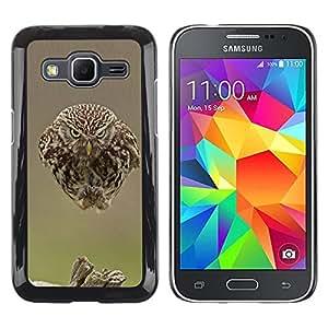 Búho lindo pájaro plumas borrosas bebé primavera- Metal de aluminio y de plástico duro Caja del teléfono - Negro - Samsung Galaxy Core Prime
