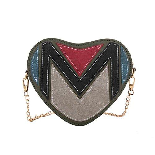 Bolso de Crossbody Bolso de hombro retro en forma de corazón del bolso femenino del mensajero de las mujeres bolso de cadena bolso salvaje del hombro (tamaño: los 19 * 9 * 16cm) ( Color : Black ) Green