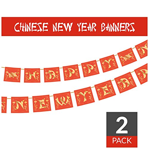 Happy New Year Banners - Red & Gold Lucky Colors - with