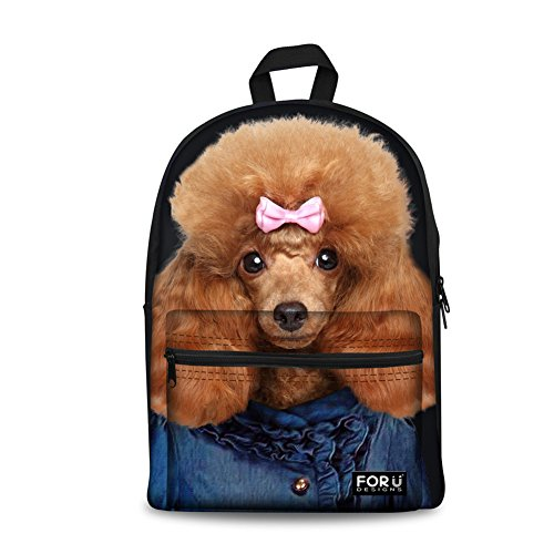 HUGS IDEA Stylish 3d Animals Poodle Womens Sport Canvas Backpacks (Backpack Poodle)