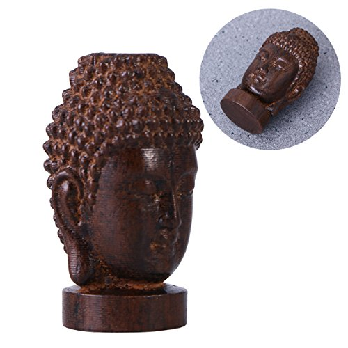 ULTNICE Buddha Sculpture Figurines Wooden Sakyamuni Buddha Head Statue Collection
