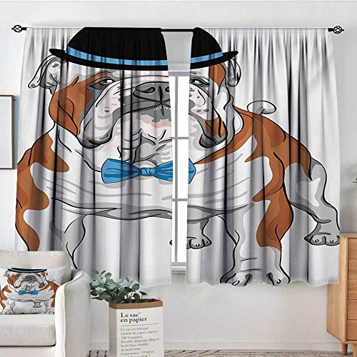 Mozenou English Bulldog Patterned Drape for Glass Door Pure Breed Hipster Dog with Vintage Hat and Bow Tie Sketch Animal Blackout Draperies for Bedroom 55