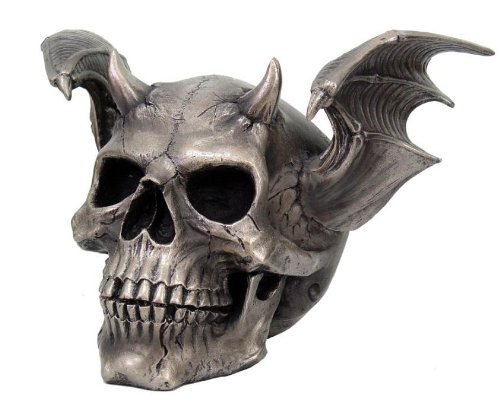 Skull With Wings (Skull with Devil Wings Skull Head Statue Cold Cast Resin Figurine)