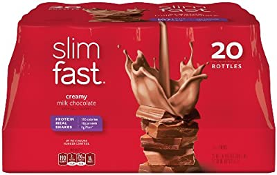 SlimFast Ready to Drink Bottles, Creamy Milk Chocolate Meal Replacement Shake, 10-Ounces, 20 Count