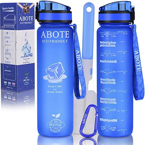 ABOTE 32oz Tritan Water Bottle with Time Marker, BPA Free Motivational Water Bottle - Blue
