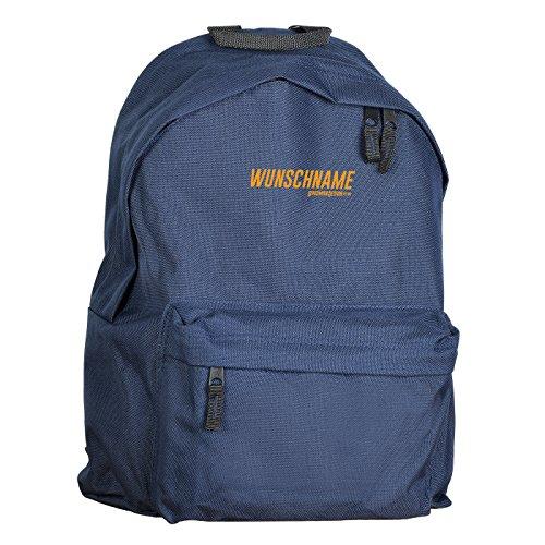 Cooler Retro Rucksack in navyblau, mit Wunschnamen! Goodman Design Logo, Vintage Rucksack für Damen und Herren