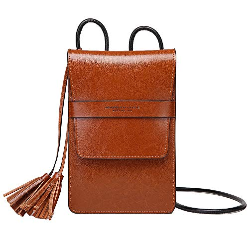 NeverOut Women Soft Genuine Leather Cell Phone Crossbody Bag Purse Small with Tassel as Gift (NP2063) (Brown-Big -