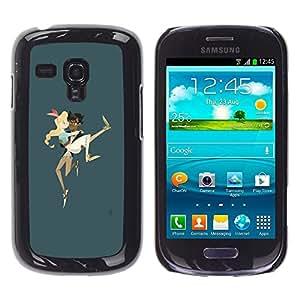 "For Samsung Galaxy S3 MINI ( NOT for regular S3 Case , Boy Llevar Chica Pareja Amor Arte Correr"" - Diseño Patrón Teléfono Caso Cubierta Case Bumper Duro Protección Case Cover Funda"
