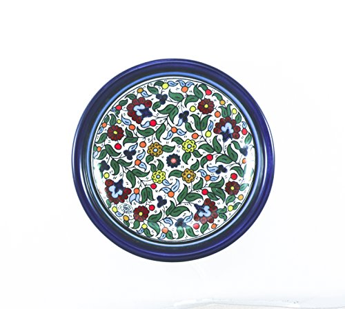Decorative plate pottery Armenian ceramic hand painted old jerusalem Israel holy land gift