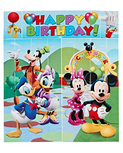 Mickey Mouse Tablecloth Ideas (American Greetings Mickey Mouse Party Supplies Scene Setter Wall Decorations,)