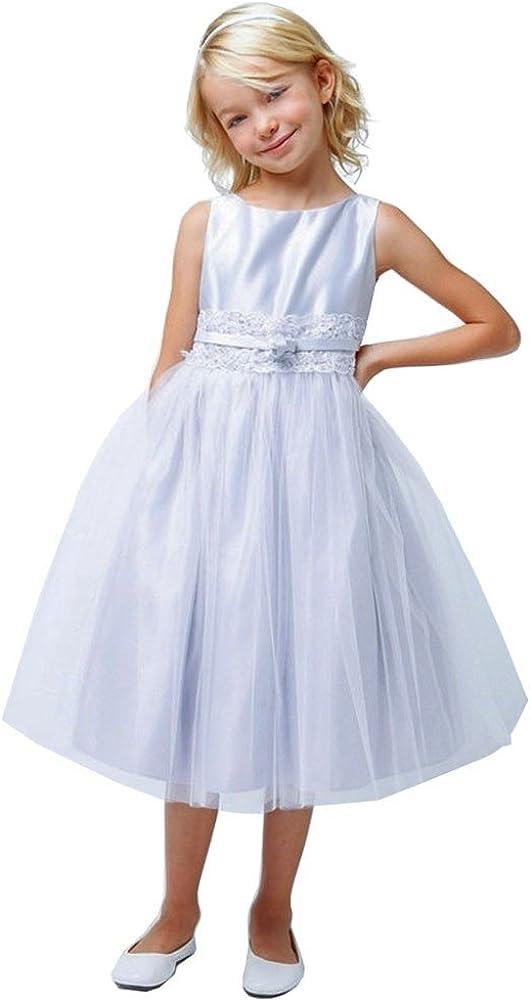 Sweet Kids Big Girls Silver Satin Lace Bow Tulle Flower Girl Dress 7-16
