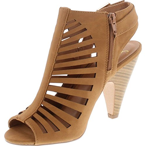 Image of SNJ Womens Cut Out Strappy Buckle Sling Back Chunky High Heel Sandals