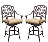 Darlee Elisabeth Cast Aluminum Counter Height Swivel Bar Stool Seat Cushion, Set of 2, Antique Bronze Finish