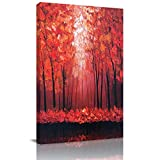 Home Decor Canvas Wall Art Painting, Romantic Mangrove Red Tree Prints, Morden Artwork Framed for Living Room Wall Decorations Ready to Hang 12'x18'