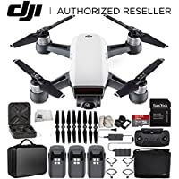 DJI Spark Portable Mini Drone Quadcopter Fly More Combo Portable Bag Shoulder Travel Case Bundle With Extra Battery (Alpine White)