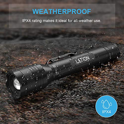 LETION LED Torch Rechargeable,Torches LED Super Bright Powerful 1500 Lumens, IPX4 Waterproof, 5 Modes Zoomable Tactical Flashlight for Camping Bicyle,Including Accessories 4x18650 Batteries(2 Pack)