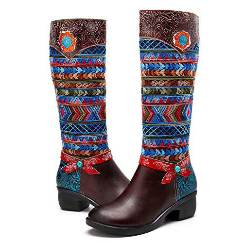 CrazycatZ Womens Bohemian Knee High Boots Leather Block Heel Long Bootie Exotic Pattern