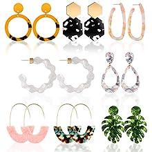 Resin Drop Hoop Dangle Earrings Acrylic Tortoise Shell Statement Earrings in Bohemian Style for Women Girls (Style Set 3)