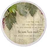 Pixels Round Beach Towel With Tassels featuring ''Tuscan Vineyard - Rustic Wood Fence Scripture'' by Audrey Jeanne Roberts