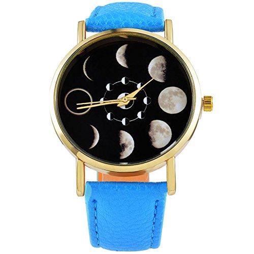 Mjartoria Women Blue Artificial Leather Moon Phase Astronomy Space Dial Quartz Analog Watch