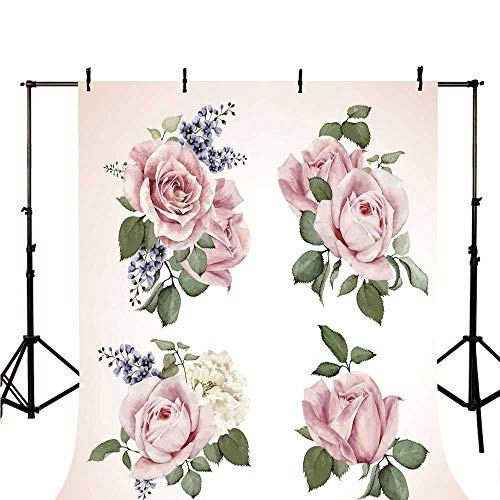 Rose Stylish Backdrop,Springtime Set of Bouquets of Roses Bridal Flora Corsage Gentle Nature Decorative for Photography,39.3