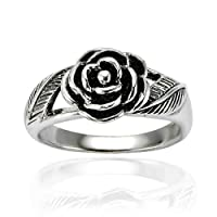925 Oxidized Sterling Silver Detailed Rose Flower with Leaves Band Ring - Nickel Free