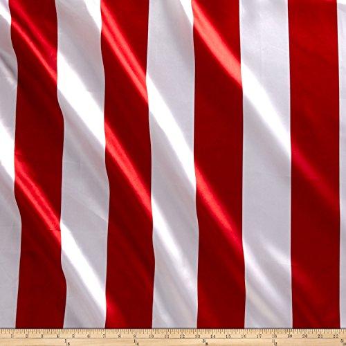 Ben Textiles Inc. Charmeuse Satin 3.5 Stripe White/Red Fabric By The (Satin Stripe Fabric)