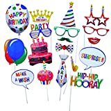 Birthday Photo Booth Props - Blend of Hats, Glasses, Mustaches, Lips, Ties, Speech Bubbles and More (18 pcs) - Colorful and Durable - Fully Assembled No DIY Required