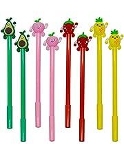 Maydahui 12PCS Fruits Shaped Rollerball Pens Cute Kawaii Pen Black Gel Ink Strawberry Pineapple Juicy Peach Avocado Design for School Office Kids Girls