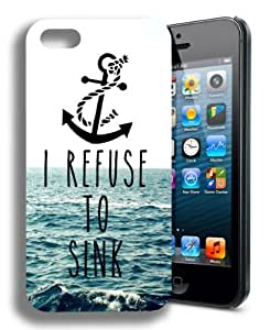 BESTER I Refuse to Sink Cute Infinity Anchor Quote Iphone 5 and 5s Case (Pixie Girl Design)