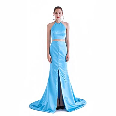 France CG Womens Halter Neck Trumpet Two Piece Cocktail Prom Dress Side Slid Sexy Mermaid Evening