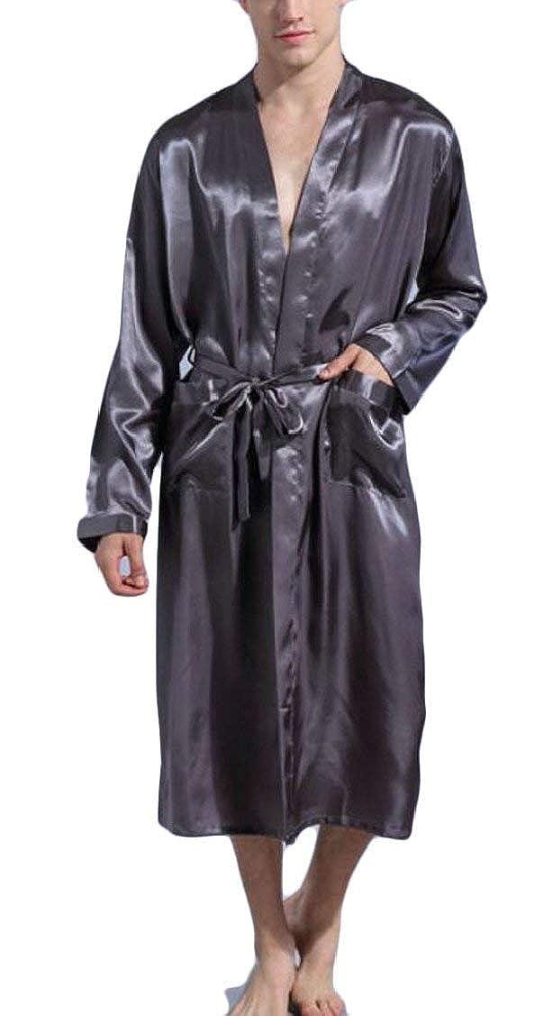 Jaycargogo Men/'s Gown Bathrobe Kimono Satin Long Nightwear
