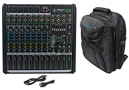 Mackie PROFX12v2 Pro 12 Channel Compact Mixer w Effects+Backpack Carry Case