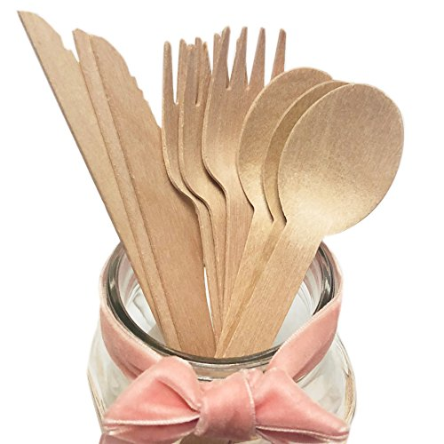 Eco Christmas Decorations - Wooden Disposable Cutlery Set, 6 Inch Biodegradable Nature Brown Color Wooden Dinnerware Cutlery Set Bamboo Wood Knife Fork Spoon, Perfect Alternative For Plastic(200 PACK Bamboo Wood)
