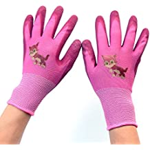 Children Gloves Gardening work Gloves - PROMEDIX -Gardening Gloves for Children Work Gloves For Gardening, Fishing, Clamming, breathable & special protective coating against cuts (Pink)