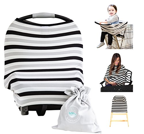 Nursing Breastfeeding Cover Scarf - Baby Car Seat Canopy (Multi-Use 4-1 Stretchy), Shopping Cart, Stroller, Carseat Covers, Infinity Nursing Shawl for Boys and Girls, Newborn Registry Baby Shower - Arrivals New Costco