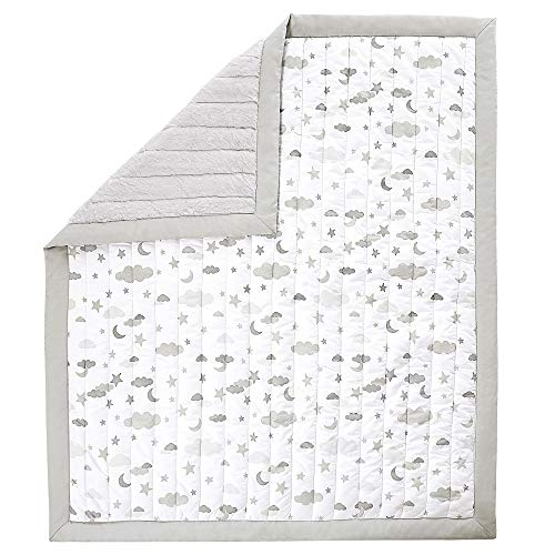 (Wendy Bellissimo Super Soft Plush Baby Blanket Reversible Quilt (37x44) - Cloud Moon in Grey/White)