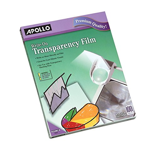 - Apollo Transparency Film, Write-On, Clear, 100 Sheets/Pack (VWO100C-BE)