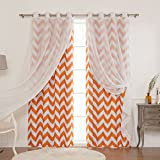 Cheap Best Home Fashion uMIXm Mix and Match Muji Sheer and Room Darkening Chevron Print 4 Piece Curtain Set – Grommet Top – Orange – 52″ W x 84″ L – (2 Curtains and 2 Sheer curtains)