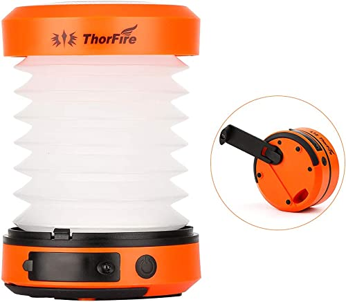 ThorFire LED Camping Lantern Lights Hand Crank USB Rechargeable Lanterns Collapsible Mini Flashlight Emergency Torch Night Light