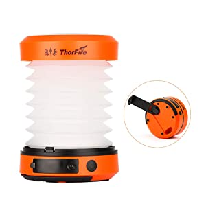 Thorfire LED Camping Lantern Lights Hand Crank USB Rechargeable Lanterns Collapsible Mini Flashlight Emergency Torch Night Light Tent Lamp for Camping Hiking Tent Garden Patio - CL01