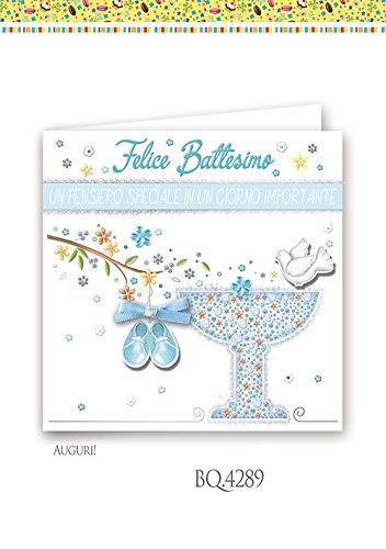 Boutique tarjeta felicitación bautizo niño cuadrado: Amazon ...