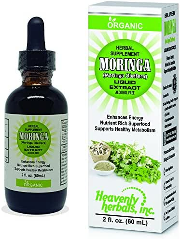 Organic Moringa Oleifera Liquid Leaf Extract Drops - Enhances Energy and Metabolism Levels - Organic Nutrient Rich Superfood - 2Fl. Oz by Heavenly Herbals, Inc. (Alcohol Free)