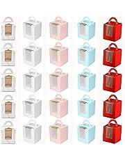 25 Stuks Individuele Cupcake-Bakjes, Cupcake-Geschenkdozen met Venster, Stevige Enkele Cupcake-Dozen, met Inzetstuk en Handgrepen en Pvc-Displayvenster, voor Verjaardagsfeestje Bruiloft (5 Kleuren)